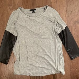 Forever 21 Leather Sleeve Tee